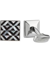 Duchamp Geometric Onyx  Mother Of Pearl Cufflinks Black - Lyst
