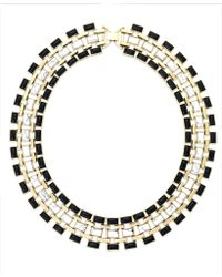 House Of Harlow Gold-tone Black White Mosaic Collar Necklace - Lyst