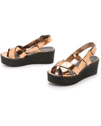 Won Hundred | Saga Low Flatform Sandals - Copper | Lyst