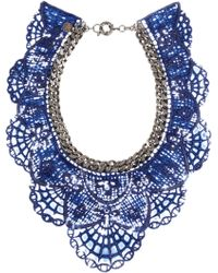 Annelise Michelson - Gunmetaltone and Coated Lace Necklace - Lyst