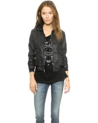 Current/Elliott The Southside Bomber Jacket - Black Coated with Chambray - Lyst