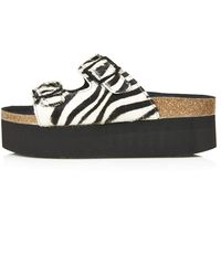 Topshop Womens Fang Double Buckle Sandals Monochrome - Lyst