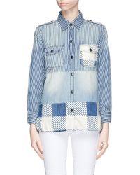 Current/Elliott 'The Perfect' Denim Patchwork Shirt - Lyst