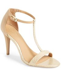 Calvin Klein Women'S 'Nasi' Leather T-Strap Sandal - Lyst