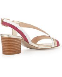 Andrew Stevens | Sofia Metallic Leather Chunky Sandal Goldpinkwhite 6 12 | Lyst