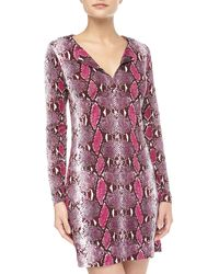 Diane Von Furstenberg Reina Long Sleeve Python Pop Dress - Lyst