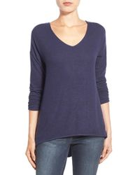 Gibson | 'yummy Fleece' High/low V-neck Pullover | Lyst