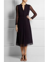 Burberry Prorsum - Silk-Georgette Midi Dress - Lyst