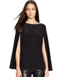 Ralph Lauren Black Label Caped Silk Noelle Top - Lyst