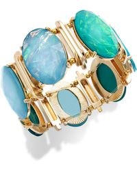 Style & Co. - Style&Co. Gold-Tone Blue Green Oval Foil Bracelet - Lyst