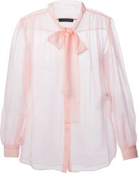 Alexander McQueen Pink Pussybow Blouse - Lyst