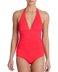 Shoshanna One-Piece Ruched Halter Swimsuit red - Lyst