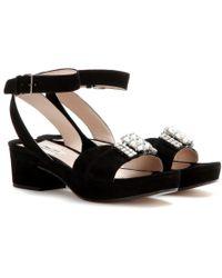 Miu Miu Embellished Suede Sandals - Lyst