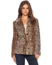 Sam Edelman Leopard Faux Fur Coat - Lyst