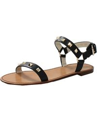 Valentino Double Rockstud Flat Sandal - Lyst