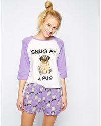 Mink Pink Snug As A Pug Lounge Tee - Lyst