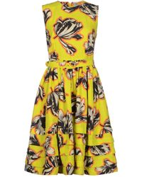 Jonathan Saunders Plain Weave Jacquard Yellow Knee Length Dress - Lyst