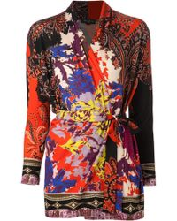 Etro Belted Cardigan - Lyst