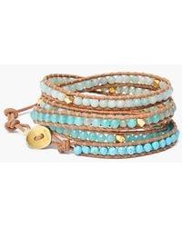 Chan Luu Beaded Leather Wrap Bracelet - Turquoise Mix/ Beige - Lyst
