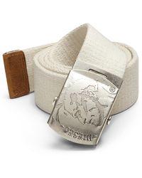 Diesel Mohican Head Plaque Belt white - Lyst