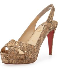 Christian Louboutin Soso Cork Red Sole Slingback Sandal - Lyst