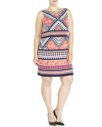 Eliza J Plus Size Printed Popover Jersey Dress blue - Lyst