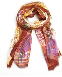 Etro Purple and Orange Modal and Linen Paisley Scarf - Lyst