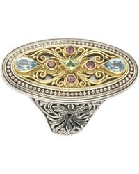 Konstantino - Silver & 18k Filigree Mixed Gemstone Ring - Lyst