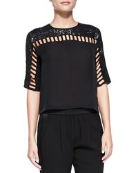 Rebecca Taylor Silk Sequined Cutout-detail Top Black 0 - Lyst