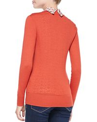 Tory Burch Simone Signature Knit Cardigan - Lyst