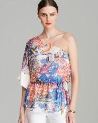 Rachel Roy - Oneshoulder Print Silk Blouse - Lyst
