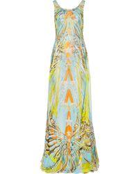 Emilio Pucci Layered Printed Silk-Chiffon Gown - Lyst