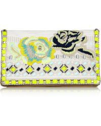 Matthew Williamson | Embroidered Jacquard And Suede Clutch | Lyst