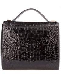 Givenchy Croc Embossed Black Leather Medium Pandora Box Bag - Lyst