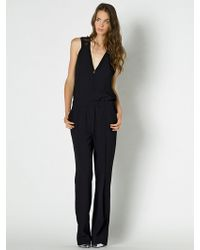 Patrizia Pepe Long Jumpsuit In Viscose Crepe - Lyst