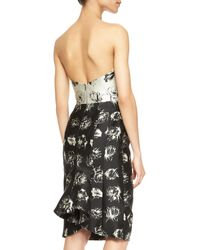 Lela Rose Floralprint Strapless Flounceback Dress - Lyst