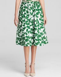 Kate Spade Garden Leaves Midi Skirt - Lyst
