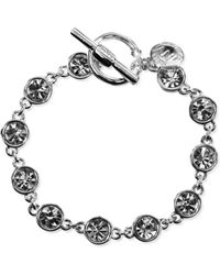 Jones New York - Silvertone Crystal Toggle Bracelet - Lyst