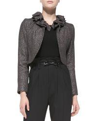 Milly Ruffledcollar Tweed Jacket Gunmetal 10 - Lyst