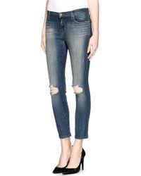 J Brand Capri Distressed Skinny Jeans - Lyst