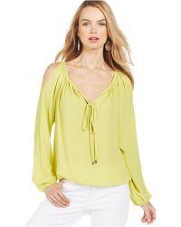 Karen Kane Long-Sleeve Cold-Shoulder Top green - Lyst