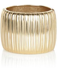 River Island Gold Tone Corrugated Metal Bangle - Lyst