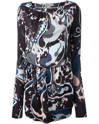 Emilio Pucci Belted Printed Dress - Lyst
