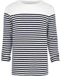 River Island Ecru Breton Stripe Long Sleeve Tshirt - Lyst
