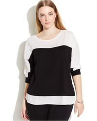 Calvin Klein Plus Size Colorblocked Mixed-Media Sweater - Lyst