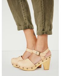 Free People Beige Daubs Clog - Lyst