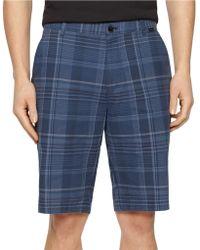 Calvin Klein Slub Plaid Flat Front Shorts blue - Lyst