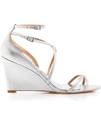 Badgley Mischka Open Toe Wedge Sandals - Melanie Embossed Ankle Strap - Lyst