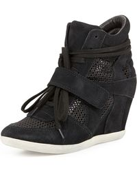 Ash Bowie Mesh Suede Wedge Sneaker - Lyst