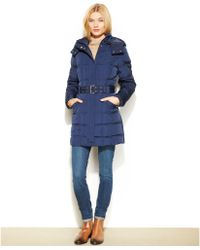 Tommy Hilfiger Hooded Belted Puffer Coat - Lyst